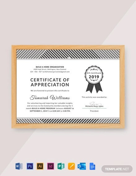 Free Volunteer Appreciation Certificate Template