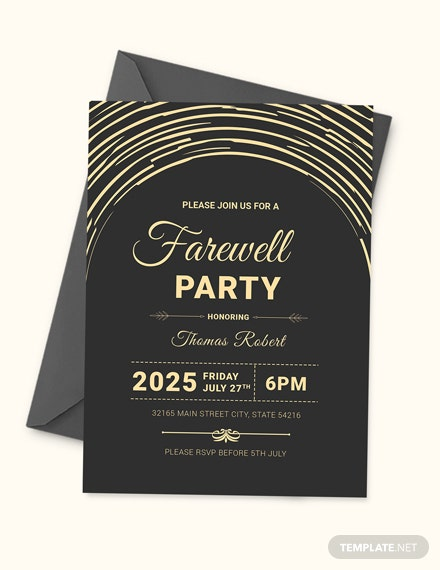 Modern Farewell Party Invitation Template Download
