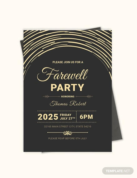 Sample Modern Farewell Party Invitation Template