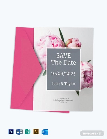 Peony Wedding Invitation Template