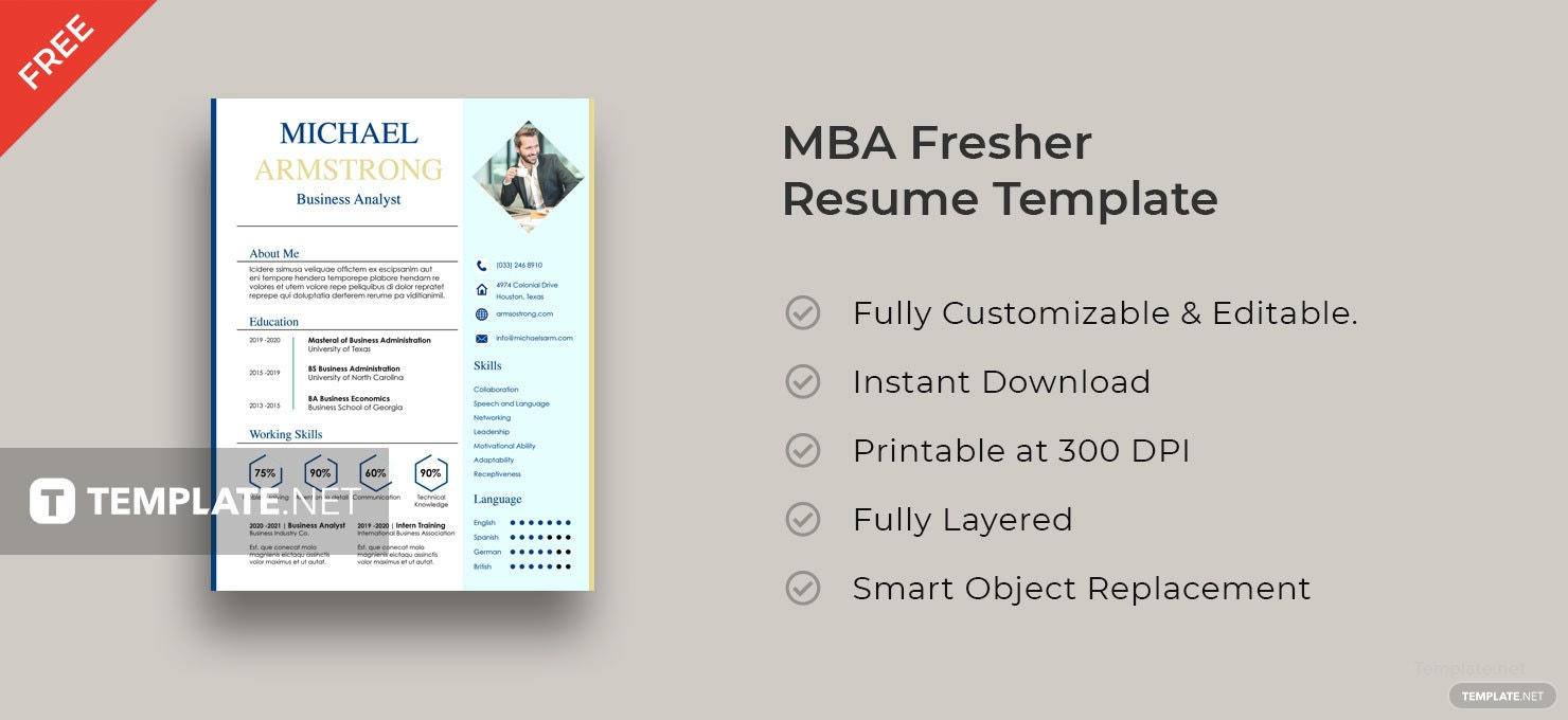 Free MBA Fresher Resume Template in Adobe InDesign | Template.net