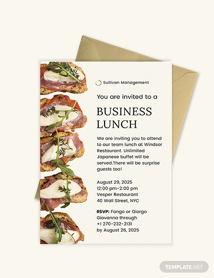 Sample Business Lunch Invitation Template