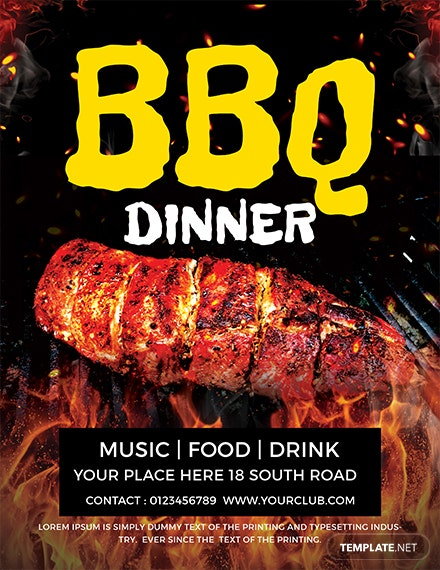 free dinner bbq flyer template 1x
