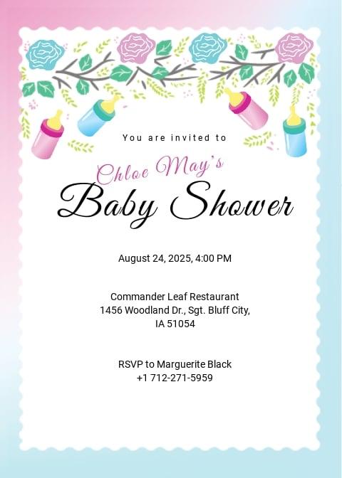 Editable Baby Shower Invitation Template