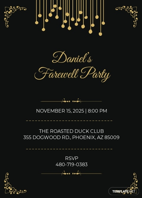 Farewell Invitation Card Template