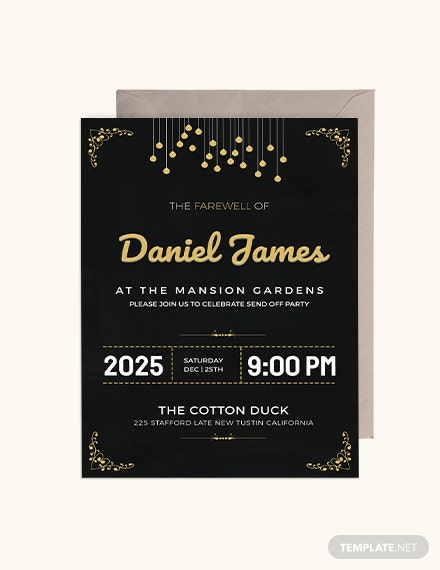 Sample Farewell Invitation Card Template