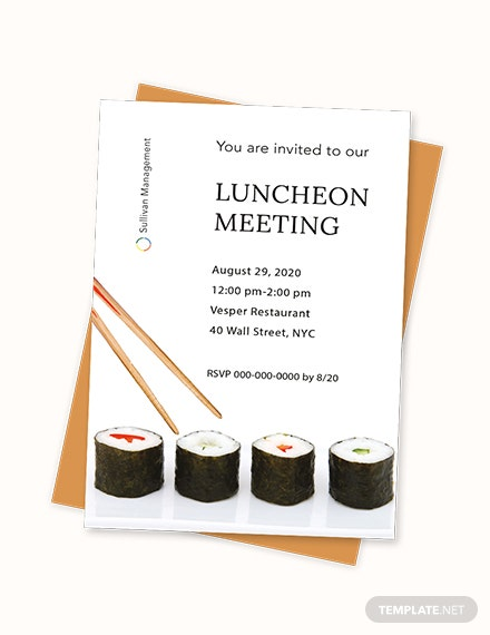 Sample Luncheon Meeting Invitation Template