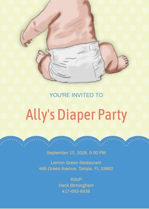 New Mom Diaper Party Invitation Template