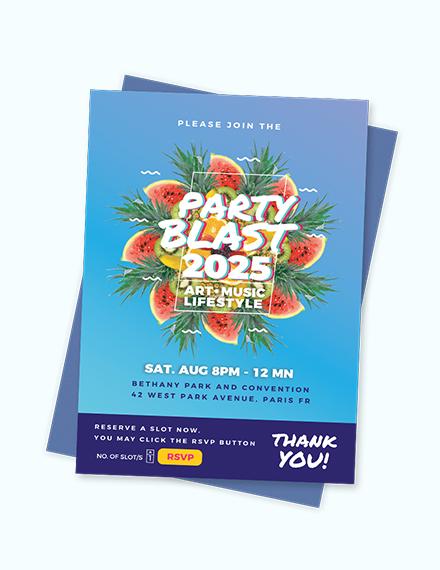 Sample Party Blast Invitation Template