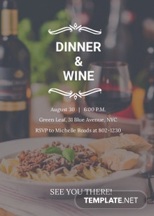 Red Wine and Dinner Invitation Template