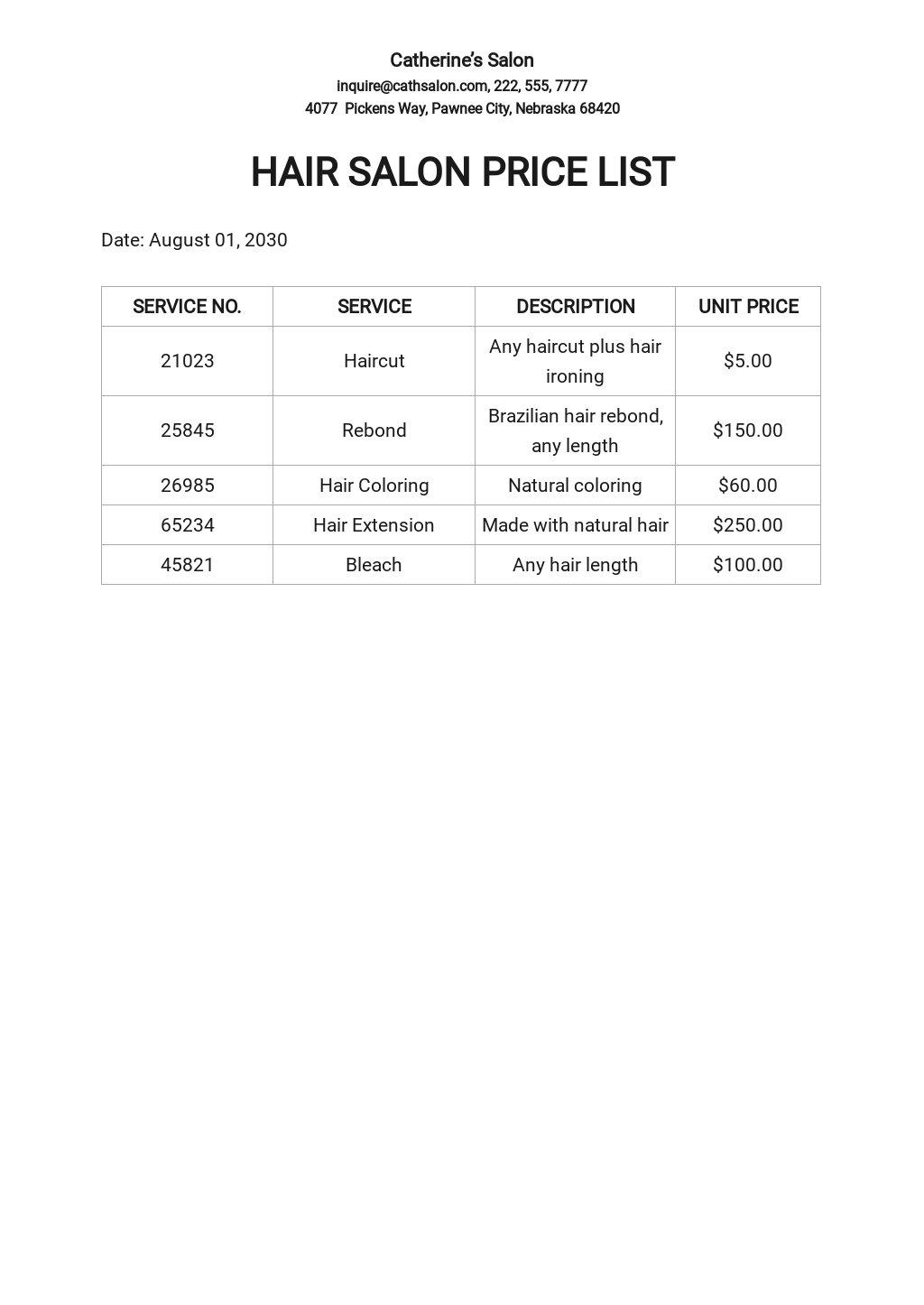Hair Salon Price List Template.jpe