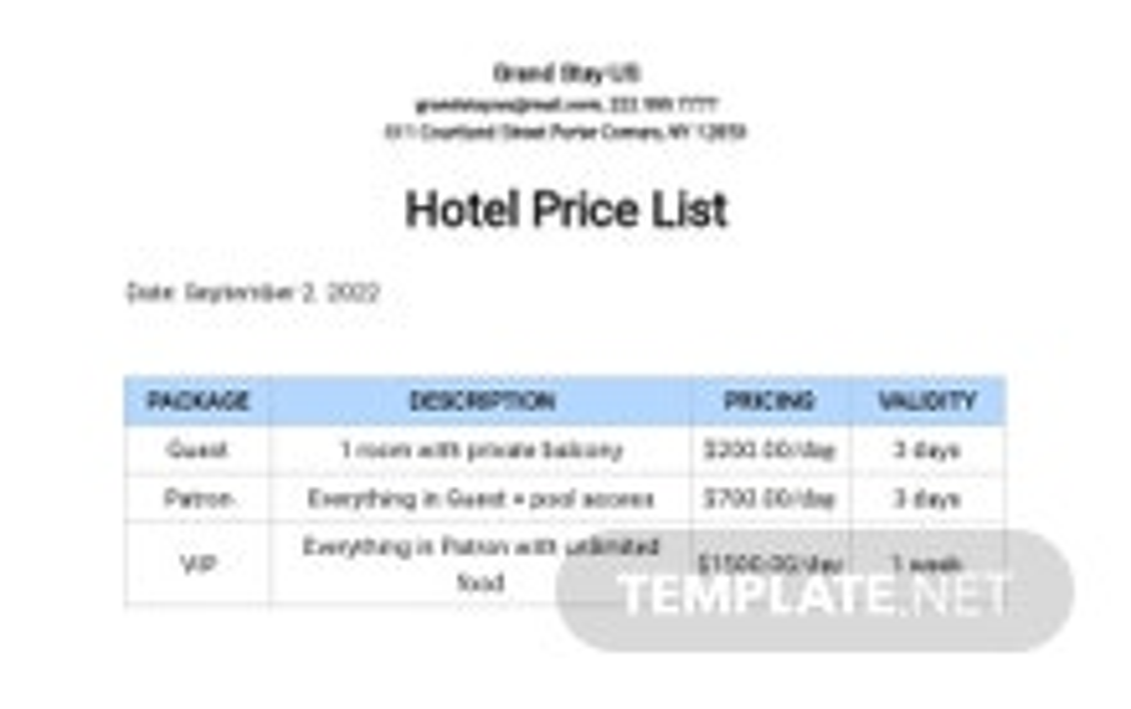 Hotel Price List Template