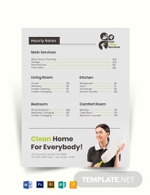 House Cleaning Price List Template