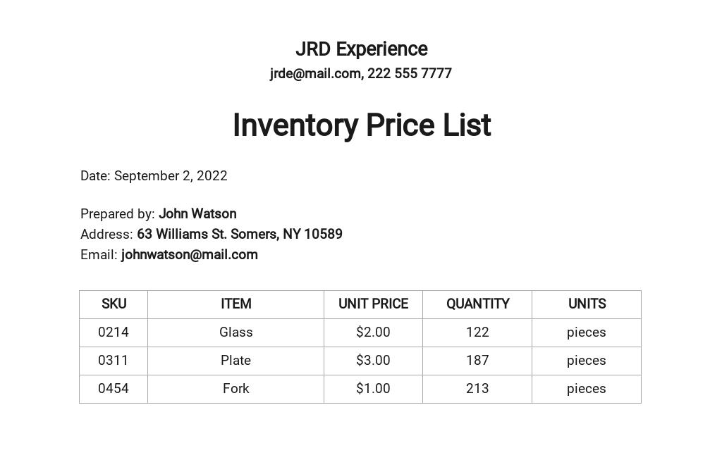 Inventory Price List Template