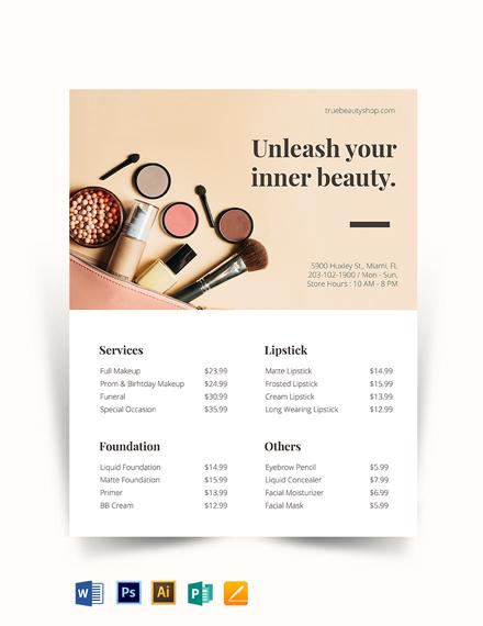 Makeup Price List Template