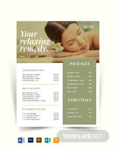 Massage Price List Template