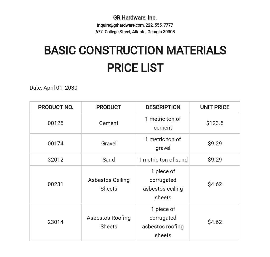 Materials Price List Template