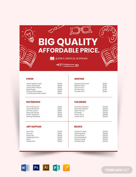 Materials Price List Template