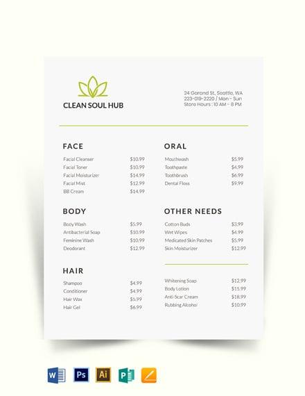 Minimal Price List Template