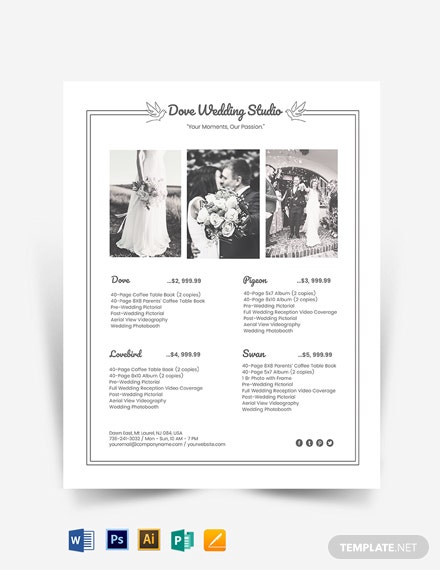 Photography Studio Price List Template