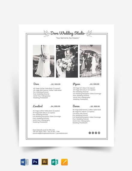 Photography Studio Price List Template