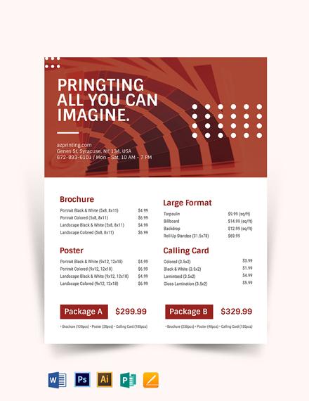 Printing Price List Template