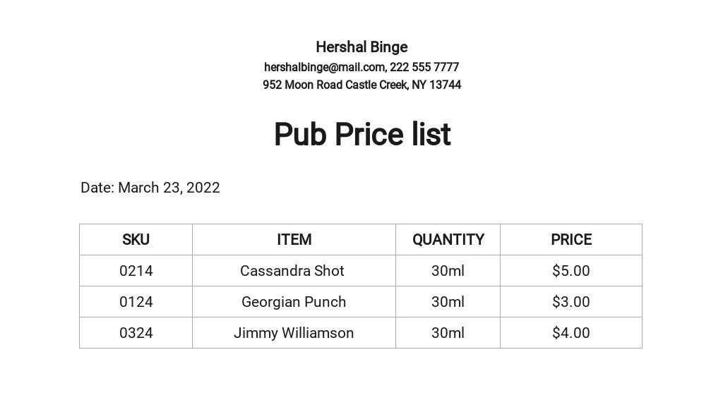 Pub Price list Template