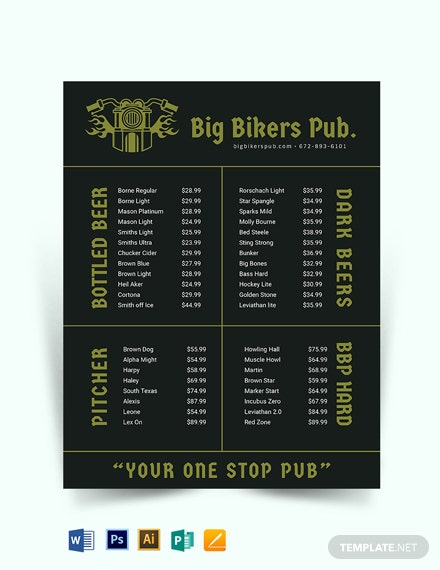 Pub Price list Template