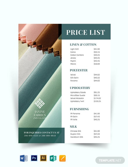 Retail Price list Template