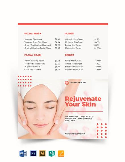Skin Care Price list Template