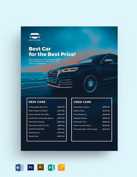 Auto Price List Template