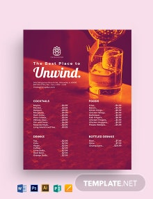 Bar Price List Template