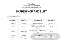 Barbershop Price List Template