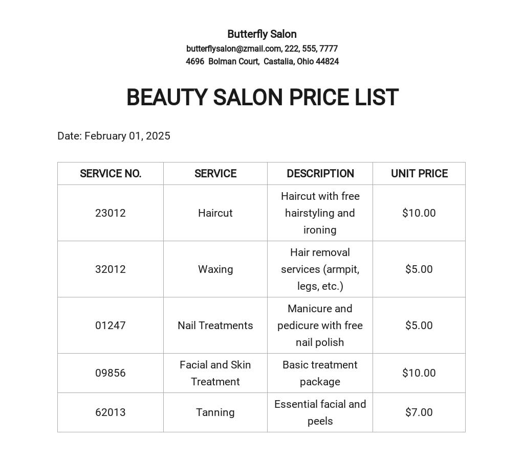 Beauty Salon Price List Template