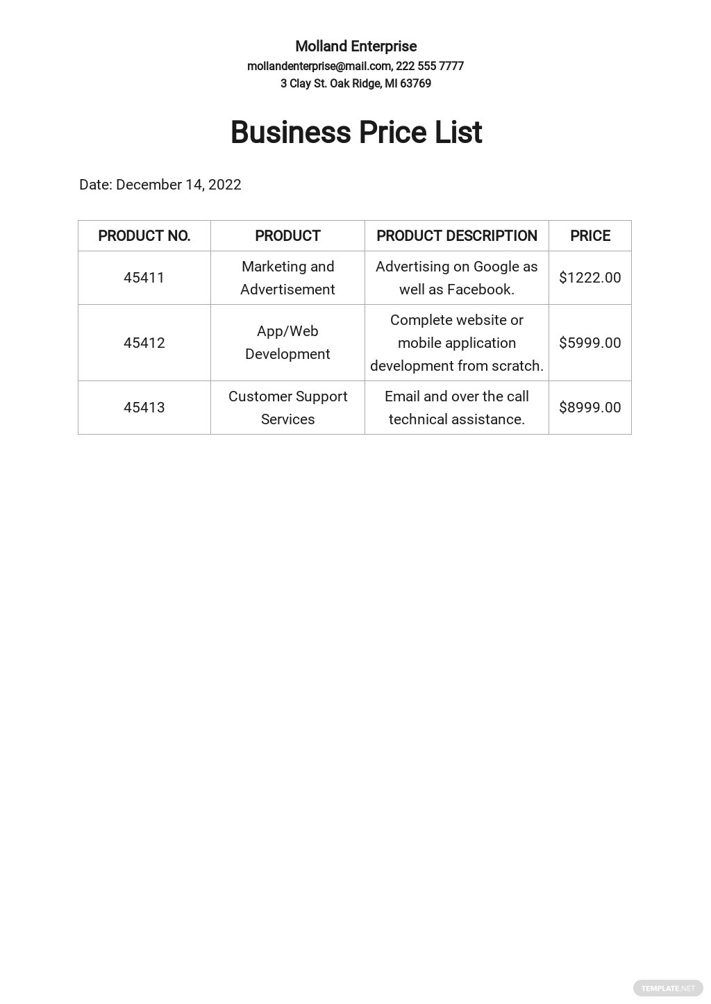 Business Price List Template