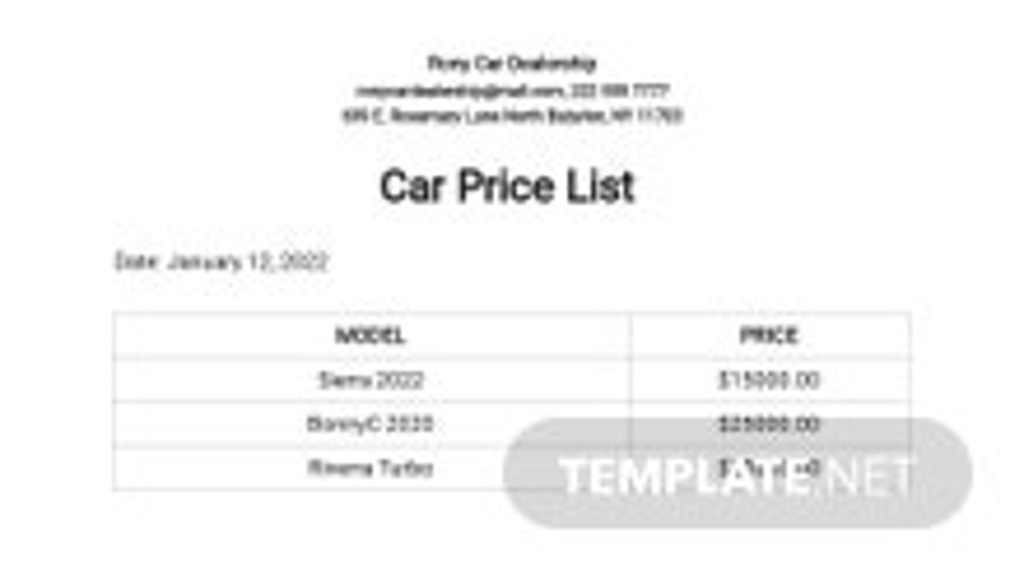 Car Price List Template