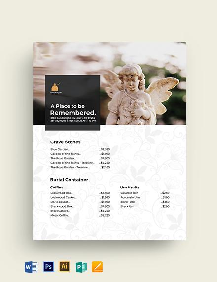 Cemetery Price List Template