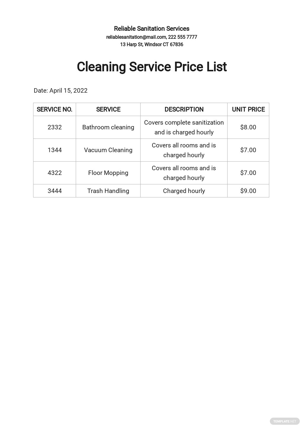 Cleaning Service Price List Template
