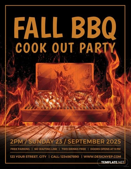 Free Fall BBQ Party Flyer Template