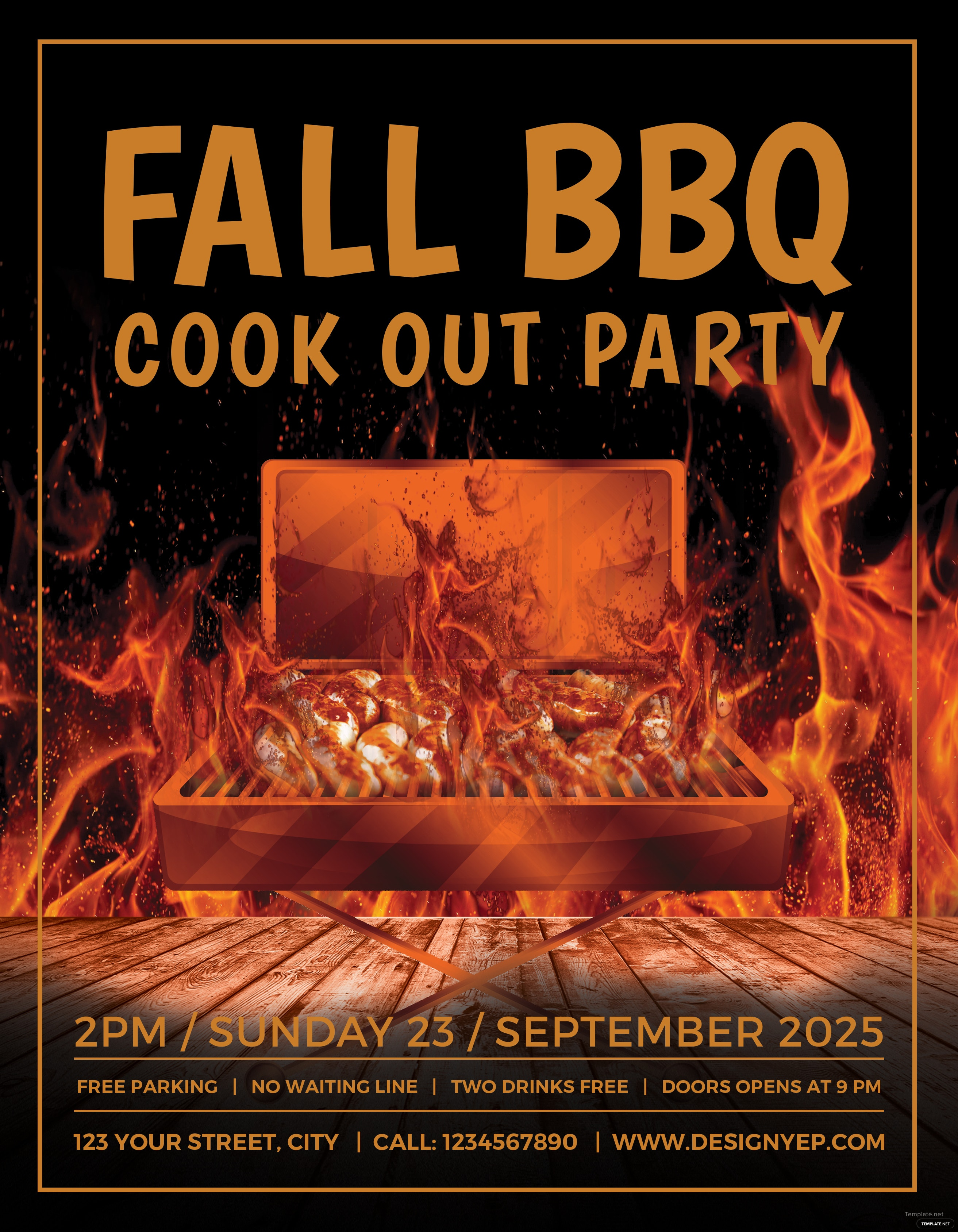 free fall bbq party flyer template in adobe photoshop  illustrator  microsoft word  publisher