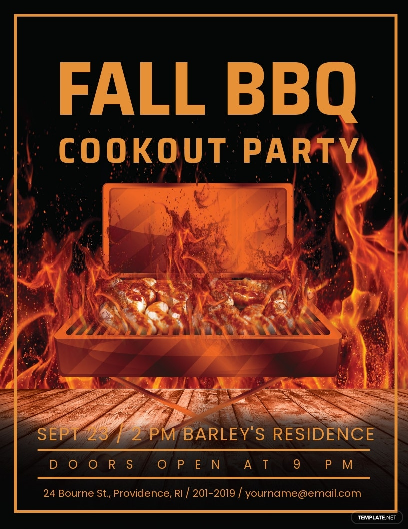 Free Fall BBQ Party Flyer Template.jpe