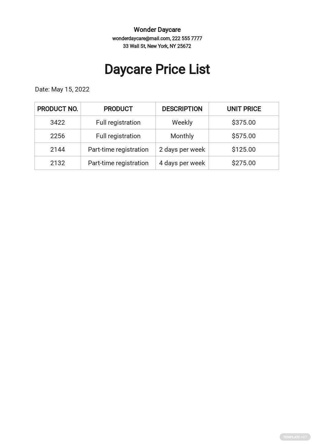 Daycare Price List Template