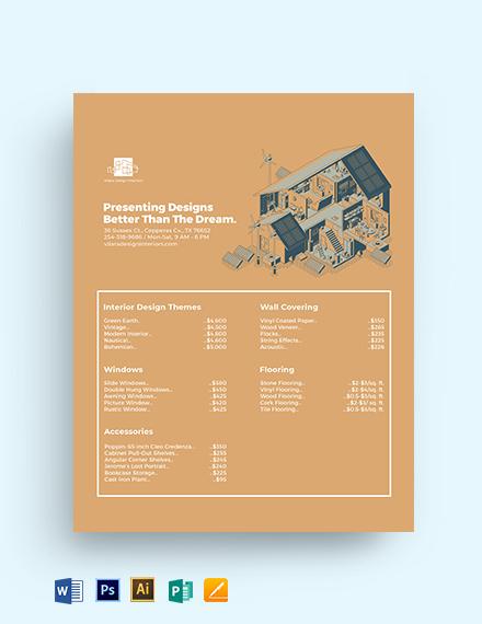 Design Price List Template
