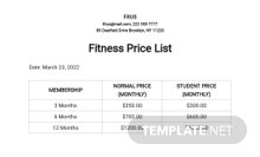 Fitness Price List Template