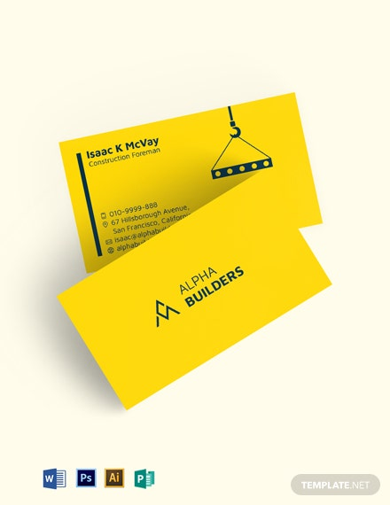 Building Construction Business Card Template