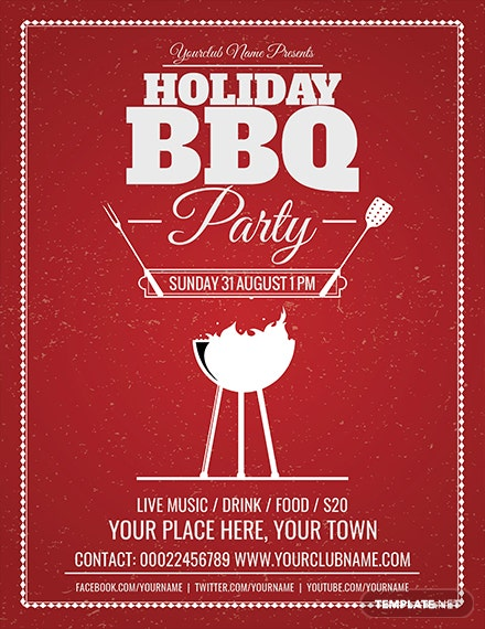 Free Holiday BBQ Flyer Template