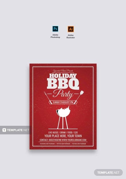 Free Holiday Bbq Flyer Template In Adobe Photoshop Illustrator