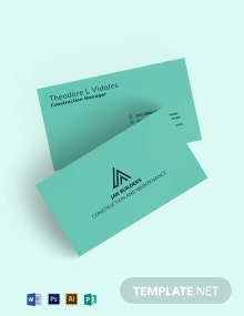 Construction and Maintenance Business Card Template