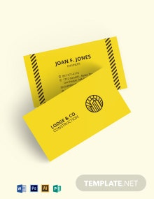 Construction Themed Business Card Template