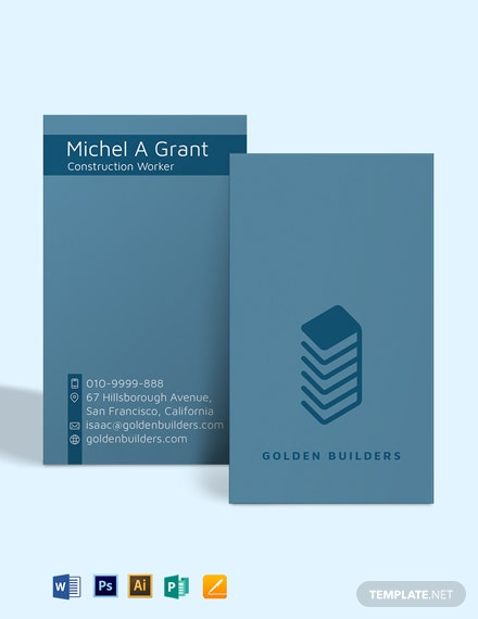 Construction Worker Business Card Template